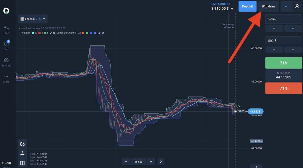 Cách rút tiền trên Olymp Trade, ở platform bấm vào nút rút tiền