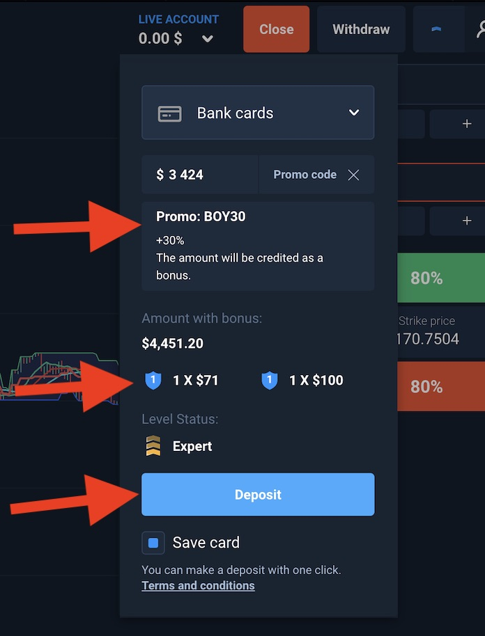 How to enter promo codeon Olymp Trade when deposit