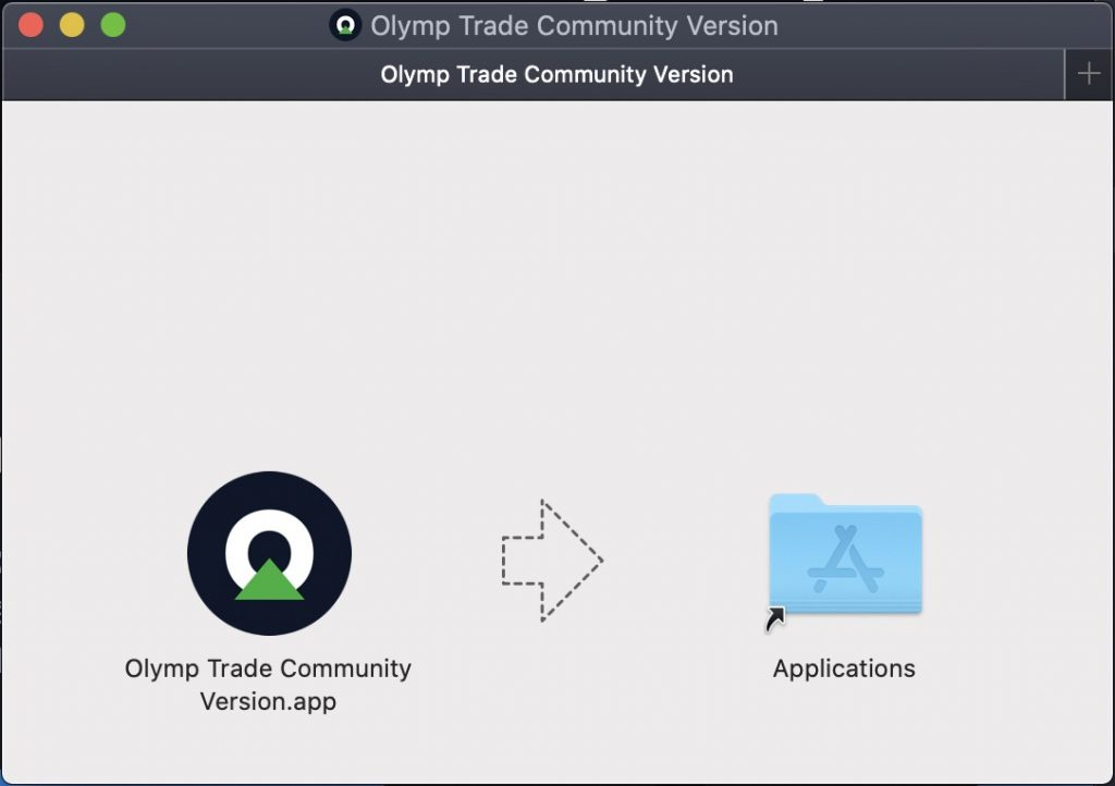 Drag the Olymp Trade App on macOS into the Applications folder