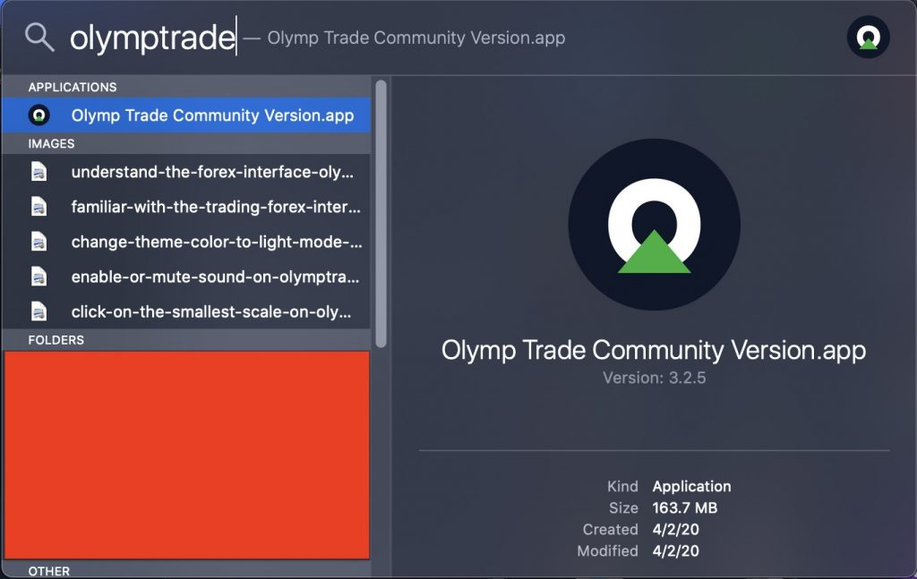 Find Olymp Trade by Spotlight on Mac