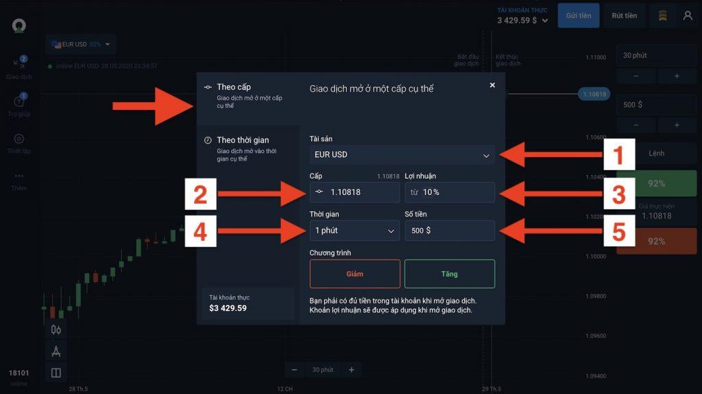 Bước Ba: Mở lệnh chờ khi trade Fixed Time Trade theo giá trị trên Olymp Trade