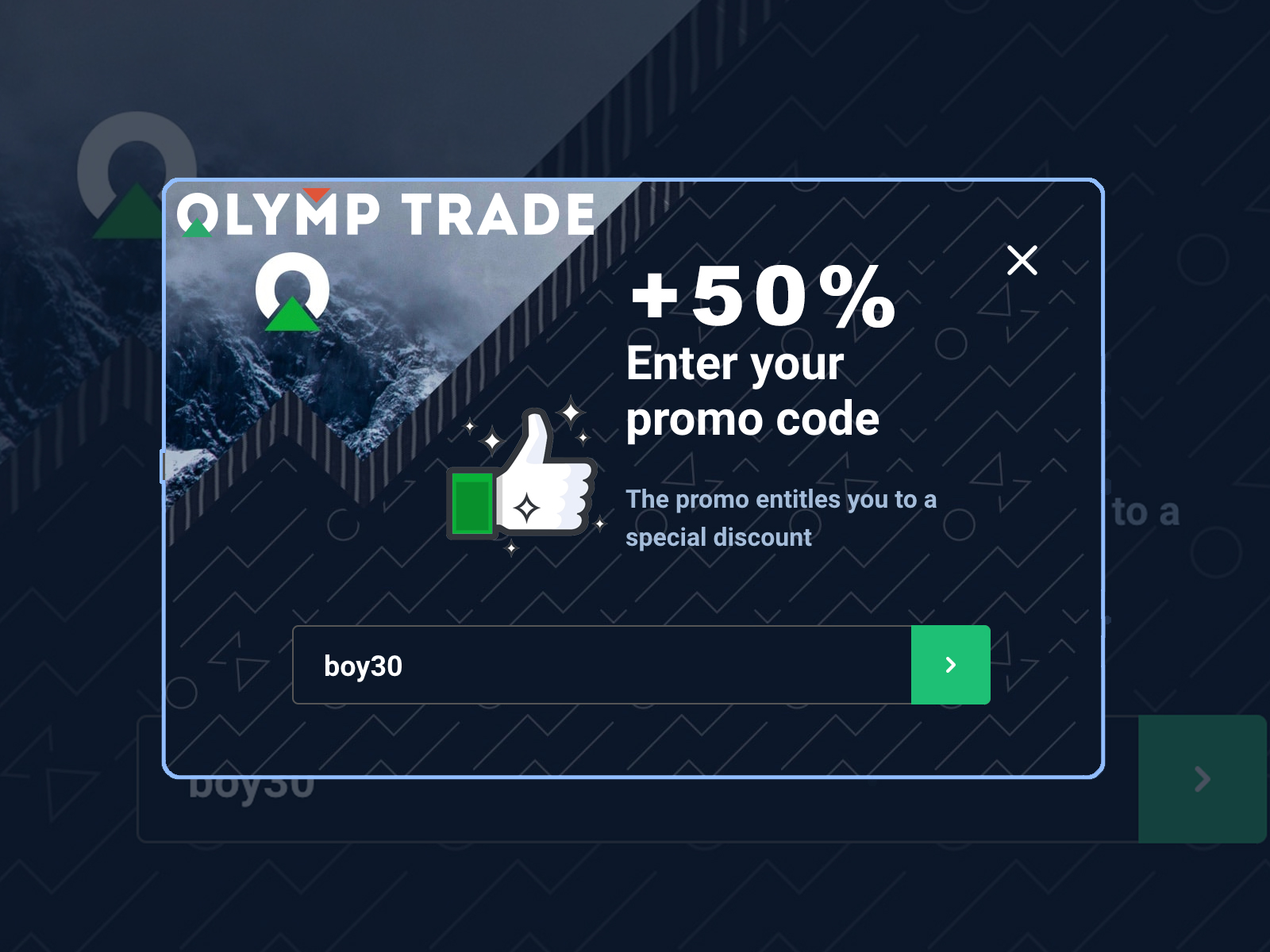 How to use promotion code up to 50% deposit money on Olymp Trade
