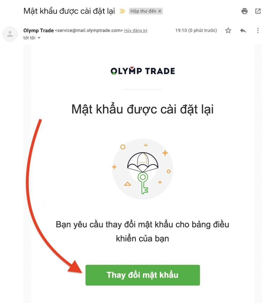 Bước 4: Mở email thay đổi mật khẩu tài khoản Olymp Trade