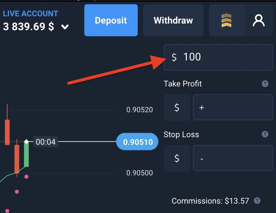 Select the amount to place on next Forex order
