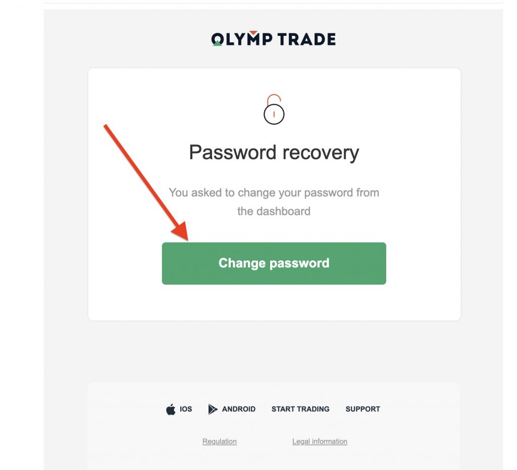Step 5: Enter a new password for your Olymp Trade account