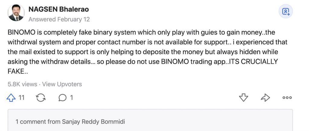 Binomo show a scam when abaddon withdrawal support