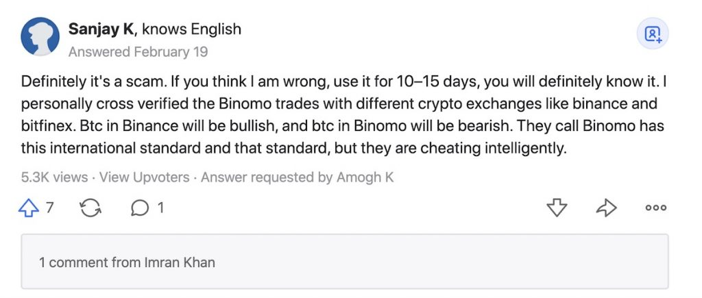 Binomo is a scam when compare with other brokers