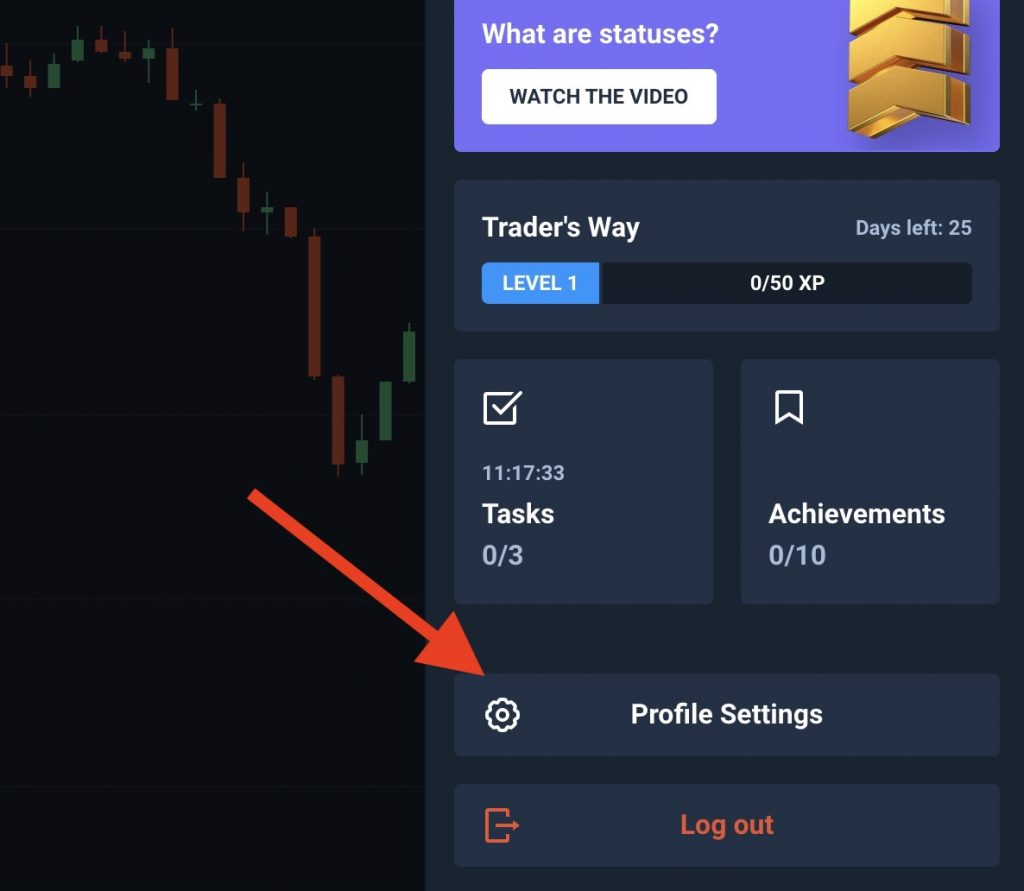 Olymp Trade profile setting