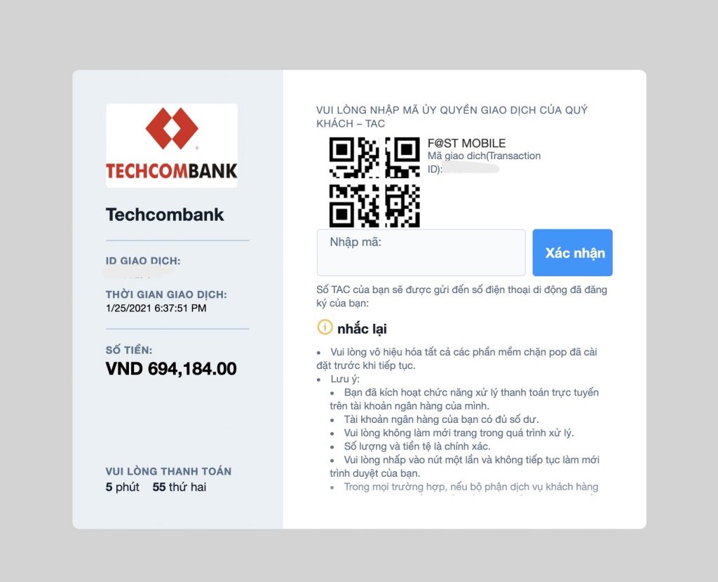 Mã OTP của Techombank khi nạp tiền Olymp Trade tại Việt Nam qua Internet Banking
